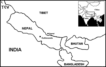 Map of the Himalayan region