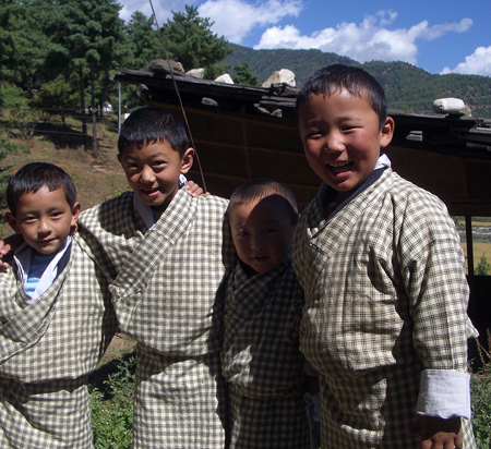 Students at the Montessori school in Paro, Bhutan, wearning the traditional costume