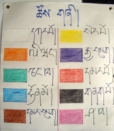Dzongkha color chart