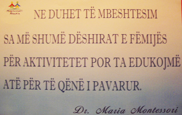 Montessori Quote at meeting in Albania
