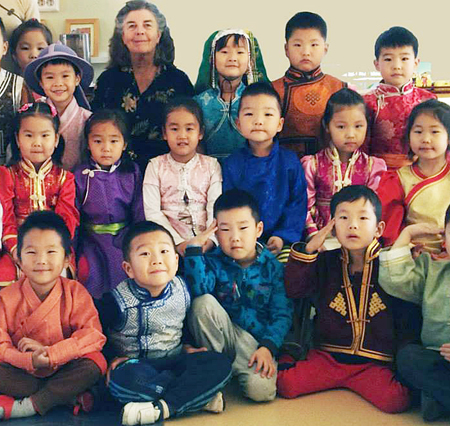 Susan with Mongolian children