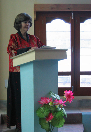 Susan giving Montessori parent talk in Paro.