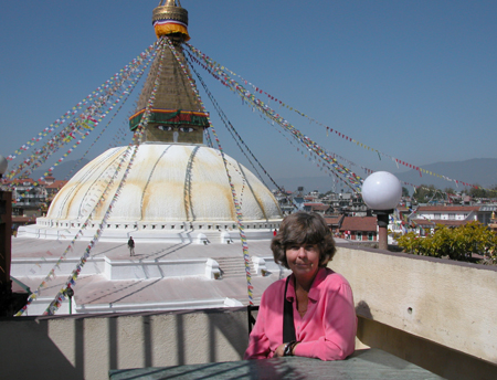 Susan at the Boudhanath Stupa